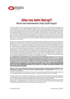 BDK - INFO: Alles neu beim Betrug?! Wovor hat Innensenator Andy Grote Angst?