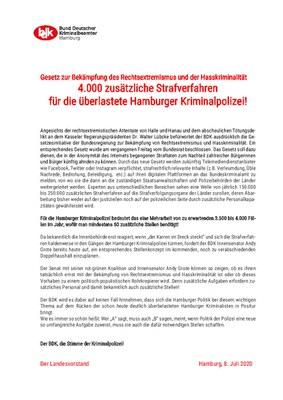 BDK Info: Gesetz zur Bekämpfung des Rechtsextremismus und der Hasskriminalität kommt - 4.000 zusätzliche Strafverfahren für die überlastete Hamburger Kriminalpolizei benötigt!