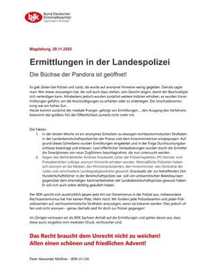 Ermittlungen in der Landespolizei Sachsen-Anhalt