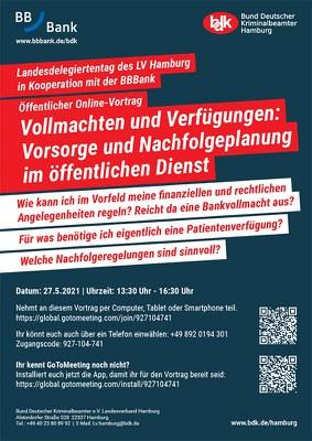 Öffentlicher Online-Vortrag: Vollmachten und Verfügungen, Vorsorge und Nachfolgeplanung im öffentlichen Dienst