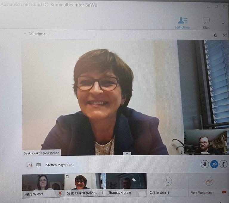 Videoschaltkonferenz mit MdB Saskia Esken (SPD)